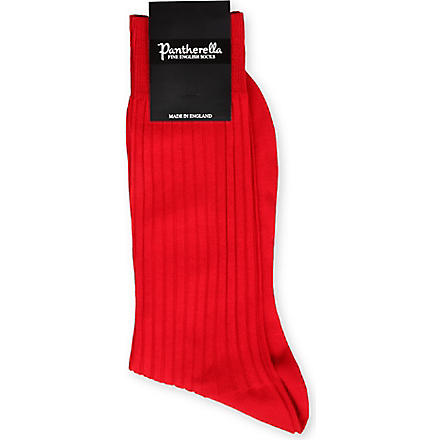 PANTHERELLA Ribbed cotton-blend socks (Scarlet