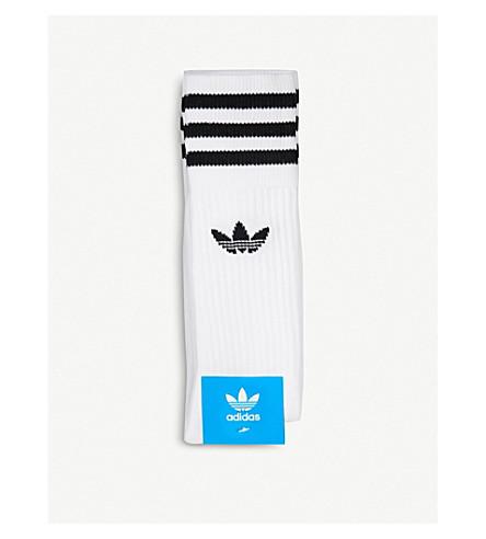 ADIDAS Logo-detailed crew socks (White