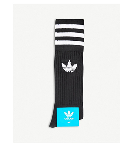 ADIDAS Logo-detailed long crew socks (Black