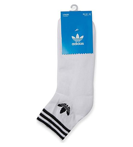 ADIDAS Logo-detail stretch-cotton socks set of three (White
