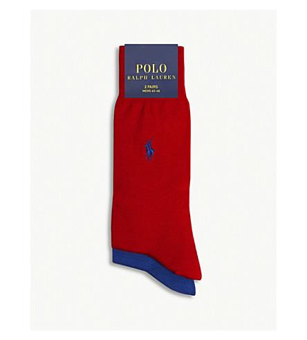 POLO RALPH LAUREN Pony Fil d'Ecosse cotton socks 2-pack (Crimson+blue