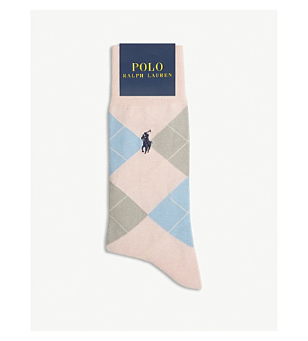 POLO RALPH LAUREN亚皆色印花棉混纺袜子 (粉红色