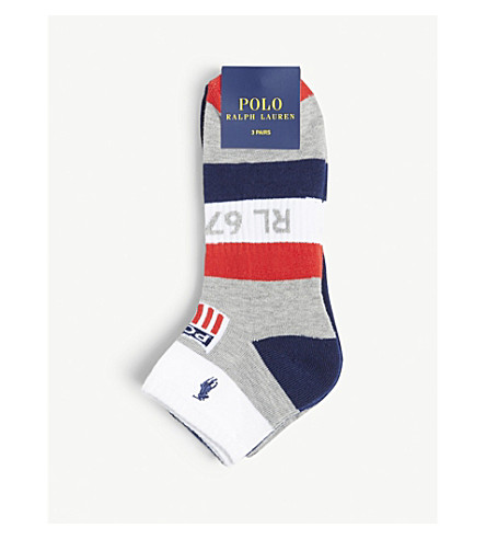 POLO RALPH LAUREN Striped logo-detail socks pack of three (Navy+red+grey+white