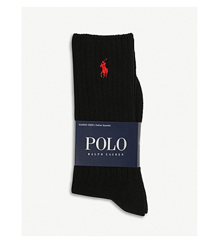 RALPH LAUREN Ribbed cotton-blend socks (Black