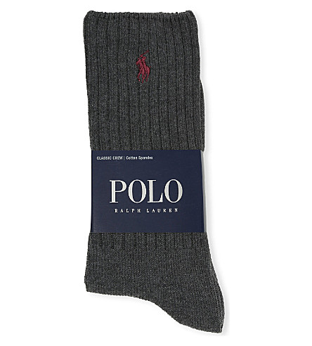 POLO RALPH LAUREN Ribbed cotton-blend socks (Charcoal+heather