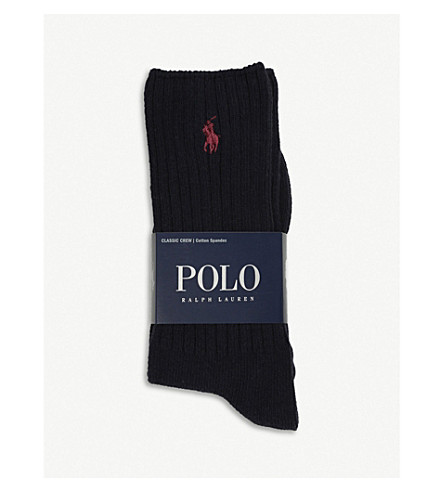 POLO RALPH LAUREN Ribbed cotton-blend socks (Navy
