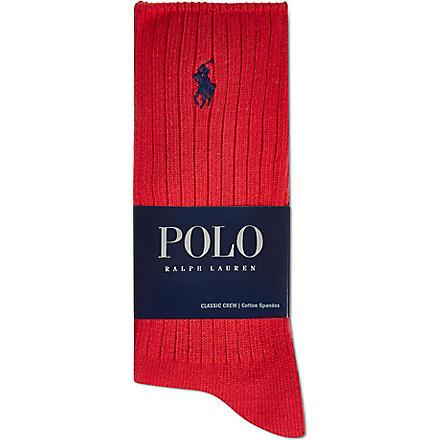 RALPH LAUREN Classic crew socks (Red