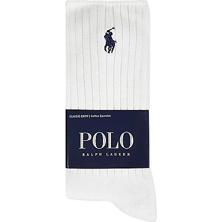 RALPH LAUREN Classic crew socks (White
