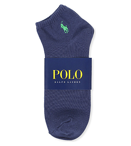 RALPH LAUREN Flat–knit Quarter socks (Navy