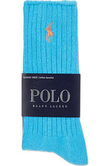 RALPH LAUREN Plain crew cotton socks