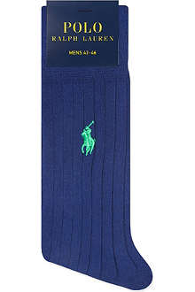 RALPH LAUREN Ribbed Egyptian ctotton socks