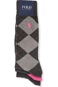 RALPH LAUREN Pack of three argyle socks