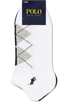 RALPH LAUREN Pack of three argyle ankle socks