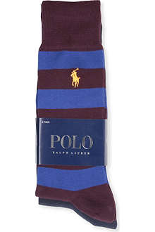 RALPH LAUREN Rugby stripe solid socks