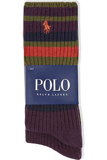 RALPH LAUREN Pack of two striped ribbed socks