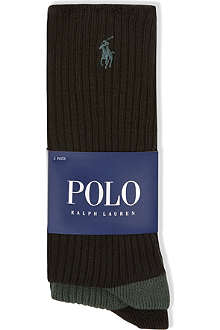 RALPH LAUREN Pack of two ribbed crew socks