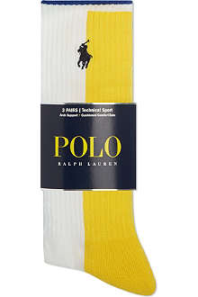 RALPH LAUREN Set of 3 contrast colour sport socks