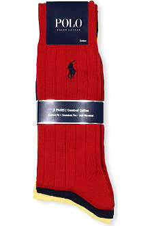 RALPH LAUREN Pack of three ribbed slacks socks