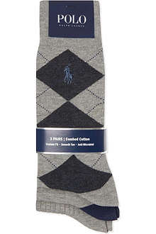 RALPH LAUREN Argyle three-pack socks