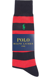 RALPH LAUREN Thick stripe pony socks 2-pack
