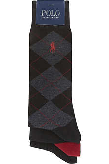 RALPH LAUREN Set of three Argyle socks