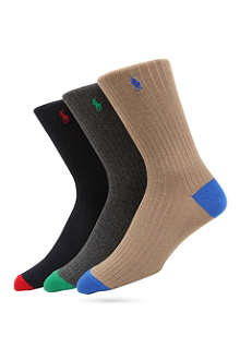RALPH LAUREN Pack of three contrast-colour socks