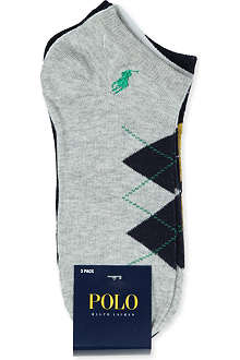 RALPH LAUREN Three pack Argyle trainer socks
