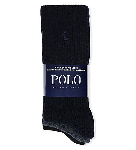POLO RALPH LAUREN Set of three combed cotton socks (Asst_navy_charc