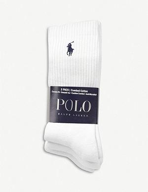RALPH LAUREN Ribbed cotton socks pack of three
