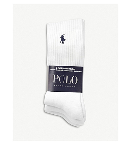 POLO RALPH LAUREN Ribbed cotton socks pack of three (White