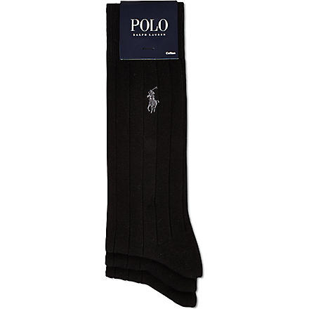 RALPH LAUREN 3 pack of ribbed dress socks (Black