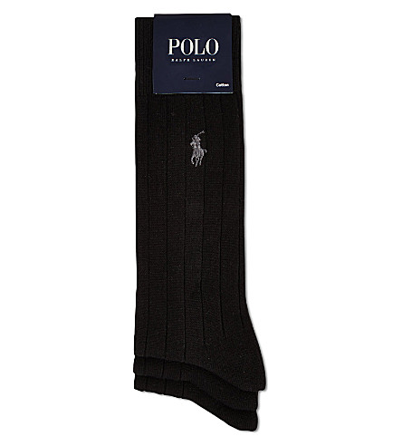 POLO RALPH LAUREN 3 pack of ribbed dress socks (Black