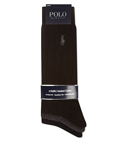 POLO RALPH LAUREN Set of three combed cotton socks (Black