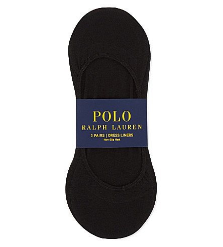 POLO RALPH LAUREN Cotton shoe liners pack of three (Black