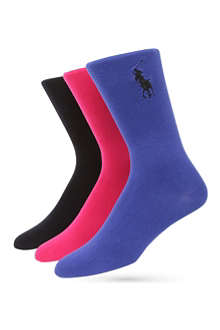 RALPH LAUREN Pack of three flat knit socks