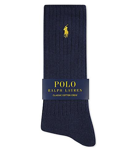 POLO RALPH LAUREN Pony ribbed cotton crew socks (Navy