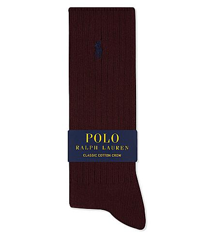 POLO RALPH LAUREN Pony ribbed cotton crew socks (Burgundy