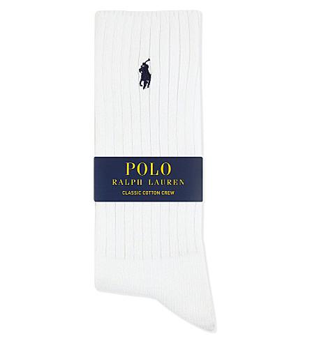 POLO RALPH LAUREN Pony ribbed cotton crew socks (White