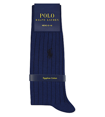 POLO RALPH LAUREN Pony ribbed Egyptian cotton socks (Navy
