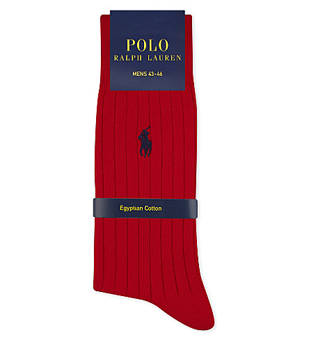 POLO RALPH LAUREN Pony ribbed Egyptian cotton socks (Red