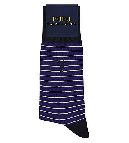 POLO RALPH LAUREN Pony striped Egyptian cotton socks (Purple