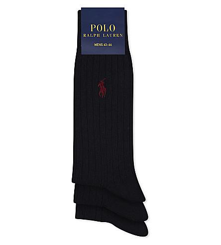 POLO RALPH LAUREN Pony ribbed Egyptian cotton socks 3-pack (Navy