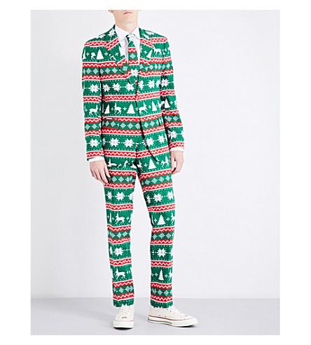 OPPOSUITS 节日绿色常规版型梭织西服 (套版