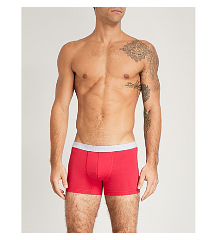 HANRO Essentials cotton trunks pack of two (Red+navy