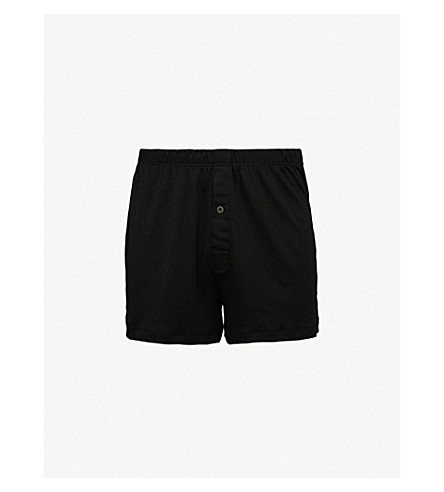 HANRO Sea Island relaxed-fit cotton boxers pack of three (Black