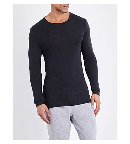 HANRO Long-sleeved wool and silk-blend top (Anthracite