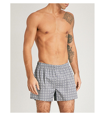 HANRO Plain and print cotton boxers pack of two (Blue+grey