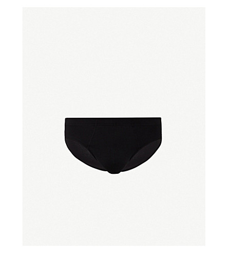 HANRO Basic slim-fit cotton briefs (Black