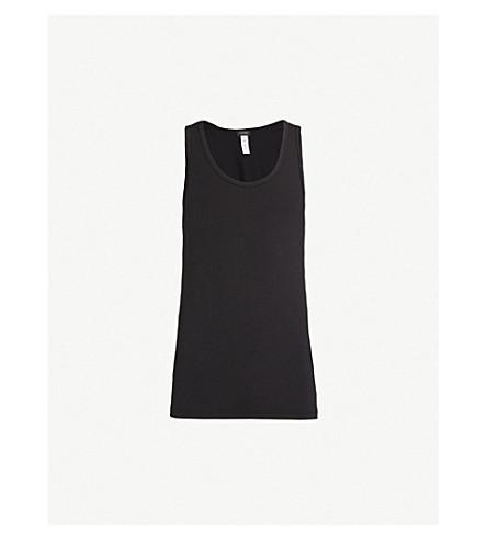 HANRO Cotton Superior cotton-blend vest top (Black
