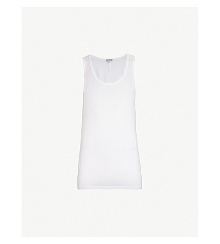 HANRO Cotton Superior cotton-blend vest top (White
